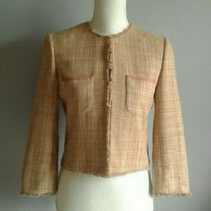 BCBGMaxAzria Cropped Silk Tweed Jacket